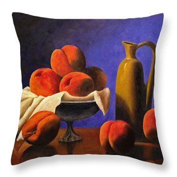Local Peaches Oil Painting Throw Pillow