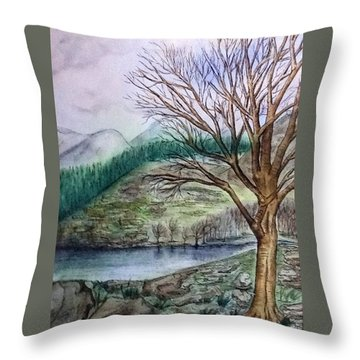 Loch Ard Stirling Overlooking Loch A'ghleannain Throw Pillow