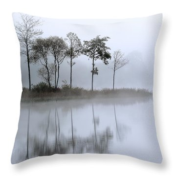 Loch Ard Trees In The Mist Throw Pillow