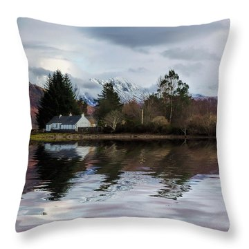 Loch Etive Reflections Throw Pillow