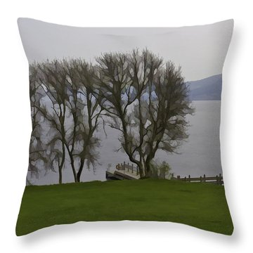 Loch Ness And Boat Jetty Next To Urquhart Castle Throw Pillow by Ashish Agarwal