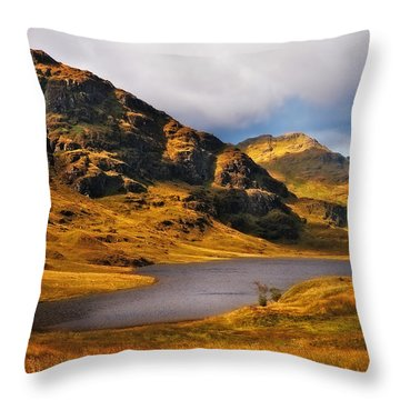 Loch Restil. Rest And Be Thankful. Scotland Throw Pillow by Jenny Rainbow