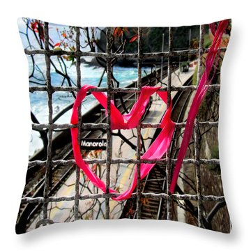 Throw Pillow featuring the photograph Lock And Love.cinque Terre.italy by Jennie Breeze