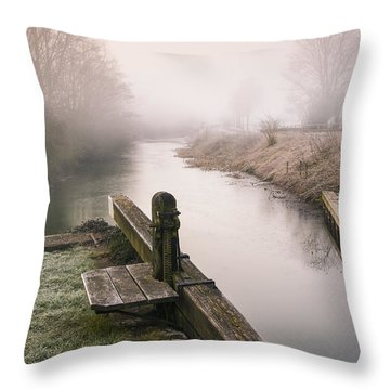 Throw Pillow featuring the photograph Lock Gates On A Still Misty Morning. by Trevor Chriss
