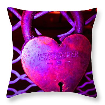 Lock Of Love In Pink Throw Pillow by Kym Backland
