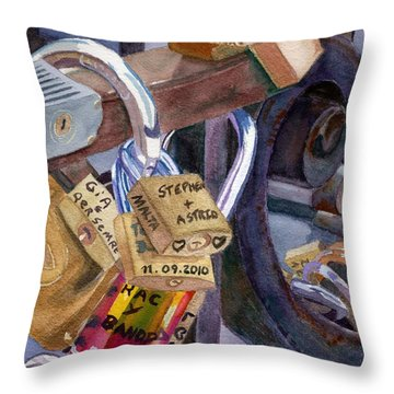 Throw Pillow featuring the painting Locks Of Luck by Lynne Reichhart