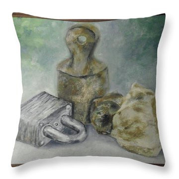 Throw Pillow featuring the painting Locked And Anchored by Mary Ellen Anderson