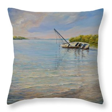 Throw Pillow featuring the painting Locked by AnnaJo Vahle
