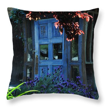 Locked Blue Door  Throw Pillow