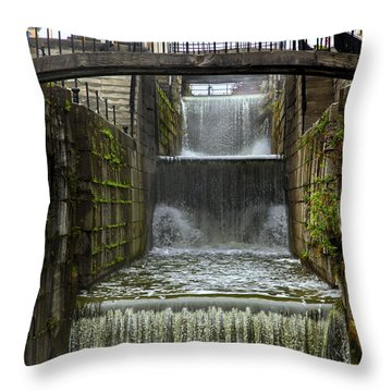 Lockport Falls Throw Pillow by Richard Engelbrecht