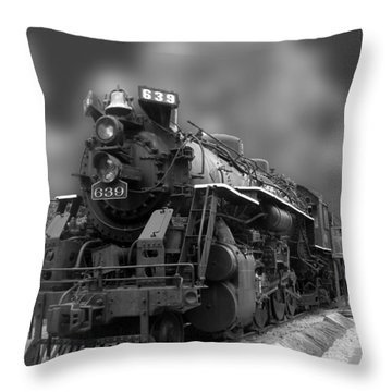 Locomotive 639 Type 2 8 2 Front And Side View Bw Throw Pillow by Thomas Woolworth