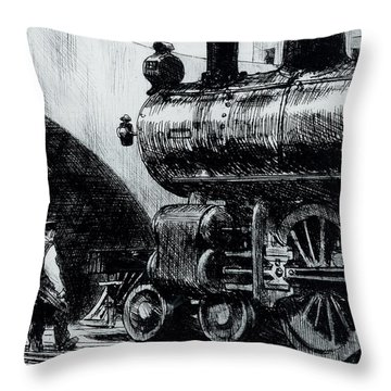 Locomotive Throw Pillow by Edward Hopper