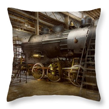 Locomotive - Repairing History Throw Pillow by Mike Savad