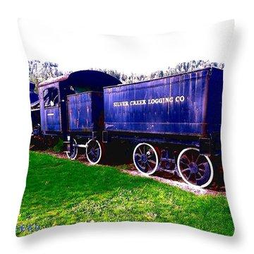 Locomotive Steam Engine Throw Pillow by Sadie Reneau