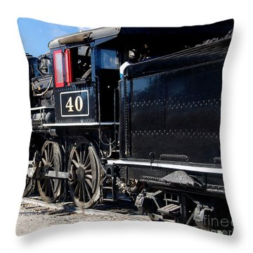 Throw Pillow featuring the photograph Locomotive With Tender by Gunter Nezhoda