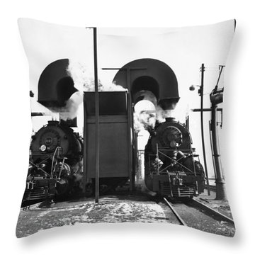 Locomotives In A Railway Yard Throw Pillow