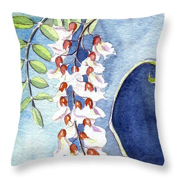 Locust Bloom Throw Pillow by Katherine Miller