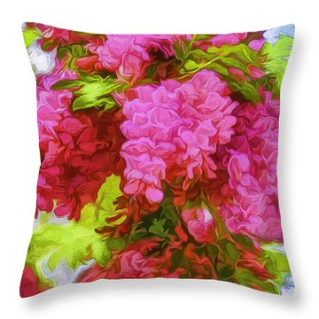 Locust Blooms-painted-2 Throw Pillow