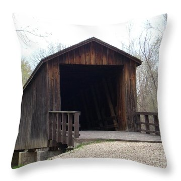 Locust Creek Covered Bridge Throw Pillow