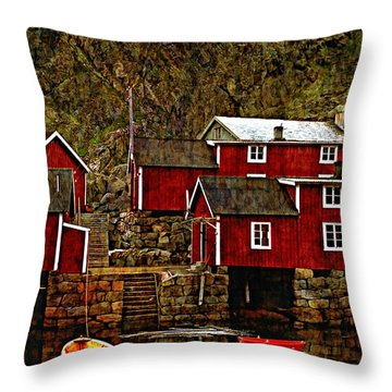 Lofoten Fishing Huts Overlay Version Throw Pillow by Steve Harrington