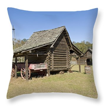 Throw Pillow featuring the photograph Log Cabin And Barn by Charles Beeler