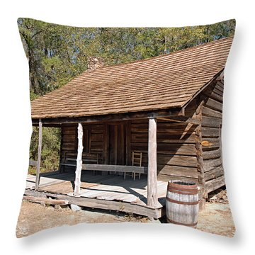 Throw Pillow featuring the photograph Log Cabin by Charles Beeler
