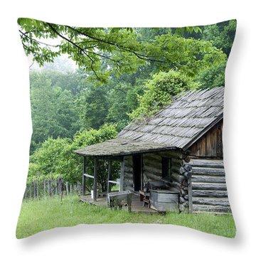 Log Cabin Fort New Salem Throw Pillow by Thomas R Fletcher
