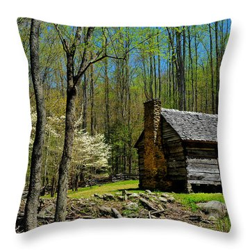 Log Cabin In The Smoky Mountain National Park Throw Pillow