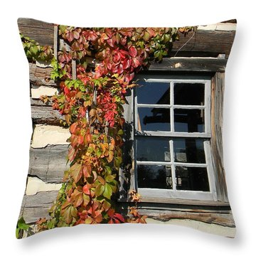 Log Cabin Ivy Throw Pillow