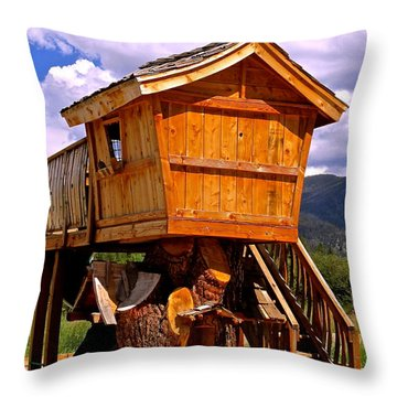 Log Cabin Penthouse Throw Pillow