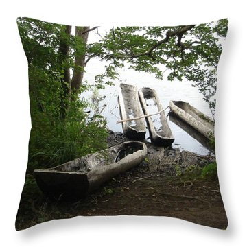 Throw Pillow featuring the photograph Log Canoes by Kerri Mortenson
