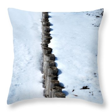 Log Fence In The Snow Throw Pillow by Nancy Mueller