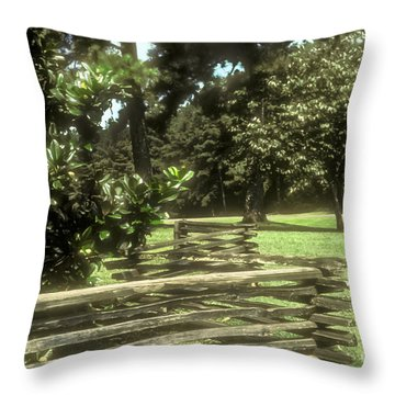 Log Fencing Throw Pillow by Bob Phillips