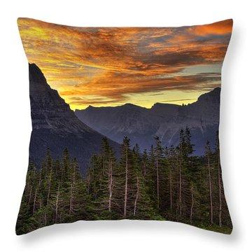 Logan Pass Sunrise Throw Pillow