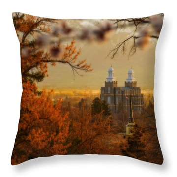 Throw Pillow featuring the photograph Logan Temple by Dustin  LeFevre