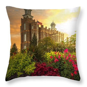 Throw Pillow featuring the photograph Logan Temple Garden by Dustin  LeFevre
