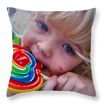 Throw Pillow featuring the photograph Lollipop Bliss by Lanita Williams