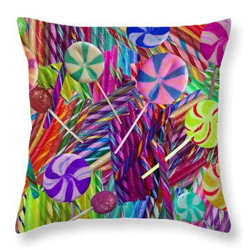 Lolly Pop Twists Throw Pillow by Alixandra Mullins