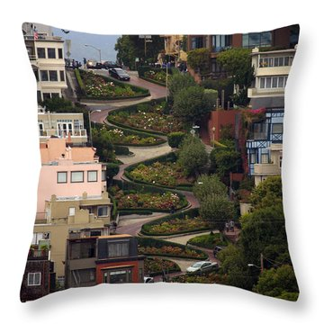 Lombard Street Throw Pillow by David Salter