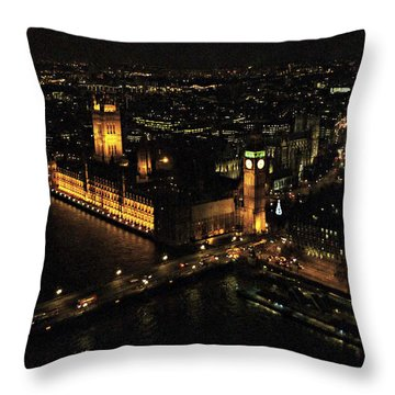 London At Night Throw Pillow by Katie Wing Vigil