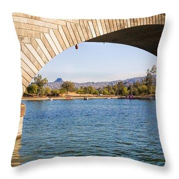 London Bridge At Lake Havasu City Throw Pillow by Fred Larson