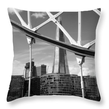 Throw Pillow featuring the photograph London Bridge With The Shard by Chevy Fleet