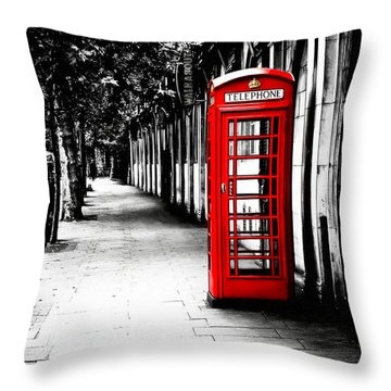 London Calling - Red Telephone Box Throw Pillow by Mark E Tisdale