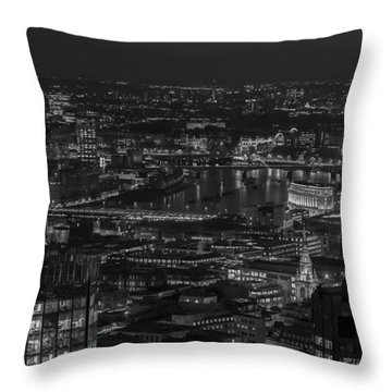London City At Night Black And White Throw Pillow