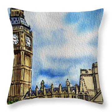 London England Big Ben Throw Pillow by Irina Sztukowski