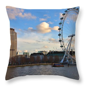 London Eye And Shell Building Throw Pillow
