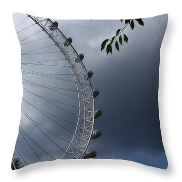 London Eye Clouds Throw Pillow by Nicky Jameson