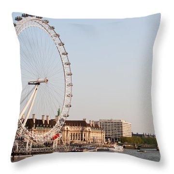 Throw Pillow featuring the photograph London Eye Day by Matt Malloy