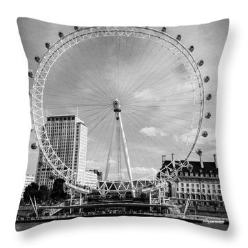 Throw Pillow featuring the photograph London Eye Head-on Bw by Matt Malloy