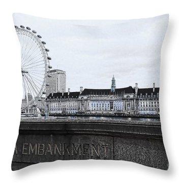 London Eye Mono Throw Pillow